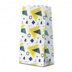 Пакет крафт белый с дизайном «треугольники» желтый / синий