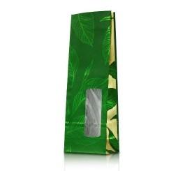Пакет зеленый четырехслойный с окном, ламинация по кругу
