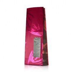 Пакет дизайн «бобы» матовый, с металлиз. прозрачным окном 82 х 30 мм
